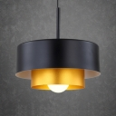 Round Suspended Light Modern Length Adjustable Metal Accent Drop Light for Living Room