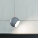 Gray Half Ball Drop Light Minimalist Rotatable Metal LED Hanging Lamp for Bedroom