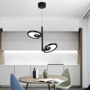 Eye Spy LED Chandelier Modern Contemporary Aluminum 2 Light Hanging Pendant Lights in Black
