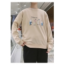 Stylish Cartoon Figure Letter FOLLOW ME Printed Crew Neck Long Sleeve Pullover Sweatshirt