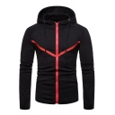 Unique Contrast Chevron Patched Long Sleeve Slim Fitted Zip Up Hoodie for Guys