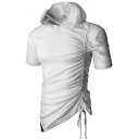 Men's Unique Drawstring Ruched Side Short Sleeve Basic Solid Slim Fitted Hoodie