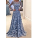 Party Evening Lace Patch V Neck Long Sleeve Open Back Blue Floor Length Dress
