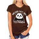 Hot Sale Short Sleeve Round Neck Letter NEVER SAY NO TO PANDA Cartoon Panda Printed Tee for Girls