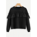 Solid Casual Long Sleeve Round Neck Ruffle Detail Black Sweatshirt