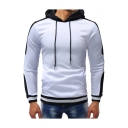 Men's New Stylish Contrast Trim Long Sleeve Fitted Sports Drawstring Hoodie