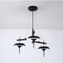 Black Finish Umbrella Hanging Lamp Modern Design Metal 3-LED Suspended Light for Coffee Shop