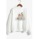 White Cat Printed Long Sleeve Mock Neck Casual White Sweatshirt