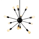 12 Light Industrial Style Spectrum Metal Indoor LED Chandelier