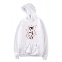 New Popular Boy Band Simple Dot Line Letter Printed Loose Fitted Hoodie for Guys