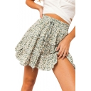 Drawstring High Waist Vintage Green Floral Printed Ruffle Hem Mini A-Line Pleated Skirt