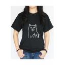 Popular Cartoon Cat Printed Crewneck Short Sleeve Loose Fit T-Shirt