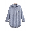 Lovely Cartoon Penguin Printed Lapel Collar Long Sleeve Blue Striped Button Shirt