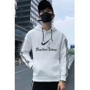 Guys Simple Fashion Letter Striped Print Long Sleeve Regular Fit Graphic Hoodie