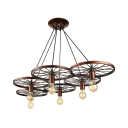 Industrial 41''W Multi Light Pendant with 6 Light and Wheel in Rust Finish