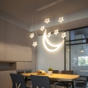 Moon and Star Cluster Pendant Light Modernism Acrylic Multi Light Drop Light for Bedroom
