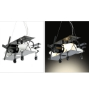 1/3 Light Prop Plane Pendant Light Vintage Style Boys Room Glass Shade Chandelier in Black/Brown