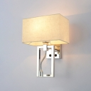 Rectangle Wall Mount Light with Spotlight Contemporary Fabric Shade 1 Light Wall Lamp in Chrome