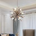 Multi Light Sputnik Drop Light Stylish Modern Smoke Glass Decorative Lighting Fixture