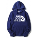 Funny Unique Letter THE DOG FACE Logo Printed Long Sleeve Loose Casual Hoodie for Men