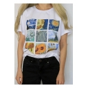 Popular Van Gogh Oil Painting Print Round Neck Short Sleeve White T-Shirt