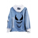 Denim Blue Cool Comic Mouth Printed Patched Long Sleeve Fringe Hem Button Down Hooded Denim Coat