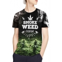 Cool 3D Letter SMOKE WEED Graphic Printed Crewneck Short Sleeve Black Fit T-Shirt
