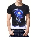 Men's Black Round Neck Short Sleeve Stylish Galaxy Print Slim Fitted T-Shirt