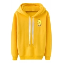Lovely Cartoon Yellow Duck Printed Long Sleeve Loose Fit Drawstring Hoodie