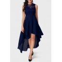 Crew Neck Sleeveless Lace-Inserted Simple Plain Midi Asymmetrical Chiffon Dress