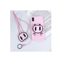 Girls Lovely Pink Pig Printed Silicon Mobile Phone Case with Lanyard