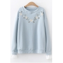 Chic Floral Embroidered Round Neck Long Sleeve Loose Fit Pullover Sweatshirt
