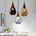 Wooden Teardrop Hanging Light Modernism 1 Light Pendant Lamp in Amber/Clear/Smoke