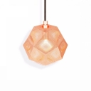Single Light Etched Drop Light Modern Design Metal Ambient Suspended Lamp in Rose Gold