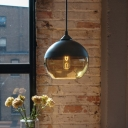 Ball Shape Suspension Light Modernism Glass 1 Head Hanging Lamp in White/Black for Bedroom