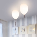 Balloon Flush Light Fixtures Stylish Milky Glass 1 Light Ceiling Light for Children Room