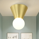 Cone and Sphere Ceiling Light Contemporary Metal 1 Head Flush Mount Lighting in Gold