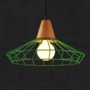 Diamond Hanging Light Industrial Colorful Single Light Pendant Lamp with Metal Cage for Staircase