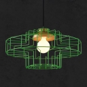 Industrial Modern Geometric Suspended Light with Metal Frame1 Head Pendant Lamp in Green/Pink/Yellow