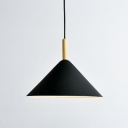 1 Light Cone Suspended Lamp Minimalist Metal Lighting Fixture in Black for Coffee Shop