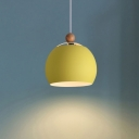 Orb Lighting Fixture Macaron Modern Iron Single Light Pendant Lamp in Green/Yellow