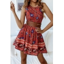 Trendy Round Neck Sleeveless Tribal Floral Printed Mini A-Line Dress