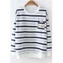 Lovely Cartoon Rabbit Floral Embroidered Pocket Round Neck Striped Sweatshirt