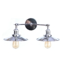 Industrial Flared Wall Mount Fixture Steel 2 Lights Wall Lighting in Chrome Finish for Warehouse