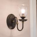 Inverted Bell Wall Light Industrial Clear Glass 1 Head Art Deco Wall Light Fixture in Antique Brass