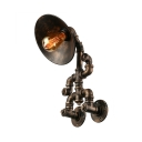 Unique Decorative Pipe Sconces Industrial Mottled Bronze Wall Light with Saucer Shade