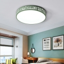 Modern Design Etched Flush Light with Round Shade Kindergarten Acrylic LED Flush Mount Light