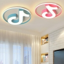 Blue/Pink Musical Note LED Flushmount Contemporary Acrylic Ceiling Fixture for Amusement Park