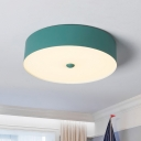 Cylindrical LED Flush Mount Macaron Blue/Pink/Yellow Metal Shade Lighting Fixture for Restaurant