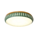 Wooden Base Round Flush Light Nordic Style Living Room Bedroom LED Ceiling Light in Green/Pink